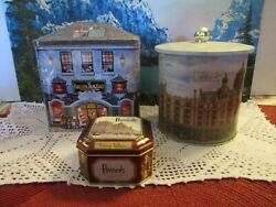 Lot Of 3 Vintage Harrods Knightsbridge Tins Made In England Biscuit/cake/toffee