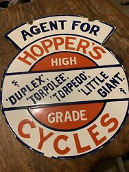 Vintage Double Sided Hoppers Porcelain Cycle Sign Torpedo Antique Bicycle