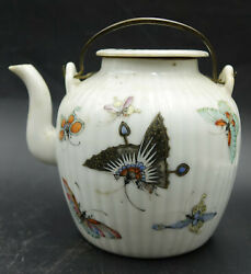 18th Century Chinese Export Hand Painted Floral And Butterflies Teapot Hard Paste