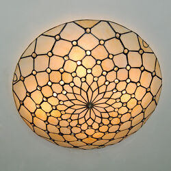 Retro Stained Glass Flush Mount Ceiling Lamp Light Fixture 50cm Style