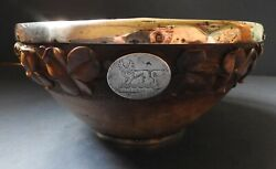 Large Carved Wooden Bowl With Silver Rims And Crest Of Irish Baronet - 1877