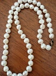 Vintage South Sea Cultured Freshwater Pearl Necklace Strand, Sterling Silver