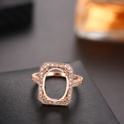 Womenand039s Semi Mount Ring 18k Rose Gold Oval 14x10mm Pave Diamonds Vintage Antique