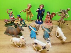 Lot Of 12 Vintage Nativity Figurines Plastic Hong Kong And Italy Goat Sheep Donkey