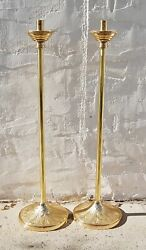 Pair Of Brass Acolyte Processional Candlesticks With Decorative Base Stands 128