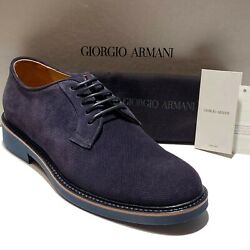 Giorgio Armani Navy Blue Suede Leather Dress Men's Derby Shoes Casual Fashion