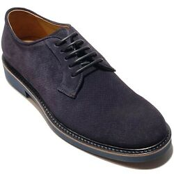 New Giorgio Armani Navy Blue Suede Leather Dress 8 41 Men's Derby Shoes Casual