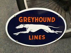 Classic Greyhound Bus Lines Heavy Duty Metal Porcelain Coated Sign