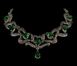 7.60ct Antique Rose Cut Diamond Sterling Silver Victorian Look Emerald Necklace