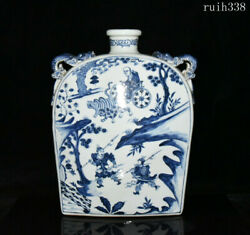 Old Collection China Yuan Dynasty Blue And White Character Story Square Bottle
