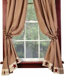 Burgundy Tan Gingham Check Stars And Berries Country Curtain Panels, 63, Lined