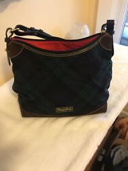 Purse Dooney And Bourke Hand Bag Green Black Watch Plaid Suede Bottom $49.00