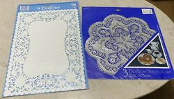Vintage Amscan Paper Doilies Lot Of 2 Rectangle And Round White And Silver