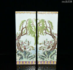 12.8a Pair China Old Rare Qing Dynasty Pastel Flowers And Birds Square Cap Tube
