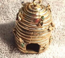 14 K Gold Beehive Charm With Stones