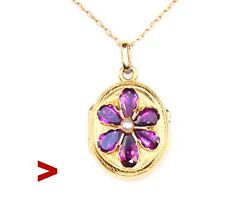 Antique French Pendant Locket Amethyst Pearl Glass Solid 18k Yellow Gold / 5.7gr