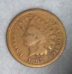 1865 Indian Head Cent Old Us Cent Coin Worn Out Penny