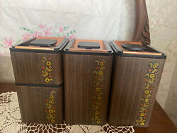 Kromex Canister Set Faux Wood Grainmade In Usagr8 Shape
