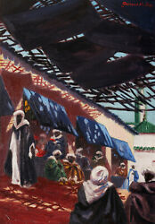 Maurice Guiraud-rivière French Oil Painting Orientalist View Souk Fès Morocco