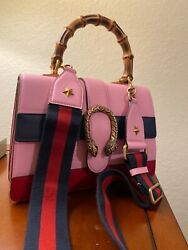 421999 Dionysus Bamboo Top Handle Pink Blue Red Striped Leather 2- Way Bag