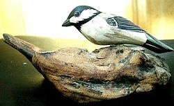 Rare Vintage Hand Carved Hand Painted Wooden Sparrow W/ Wired Legs On Branch