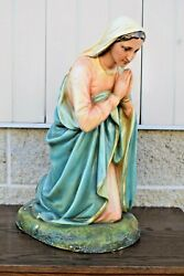 + Nice Older Nativity Set Figure Of Mary, 20 Ht. From Old Church Set Cu700 +