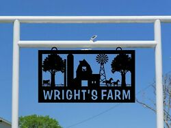 Farm Sign With Silos Barn Windmill Animals, Large Entrance/gate Rectangle,s1344