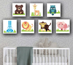 Childrens Bedroom Baby Nursery Playroom Set Of Animal Canvas Prints Pictures Zoo