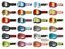 100% STRATA 2 Goggles ALL COLORS Offroad MX MTB Moto CLEAR OR MIRROR LENS