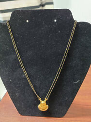 22k Black Bead Yellow Gold Hand Made Necklace 20 Long And Lakshmi Devi Pendant