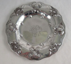 Set Of 6 Gorham Athenic Sterling Silver Bread And Butter Plates Strawberries