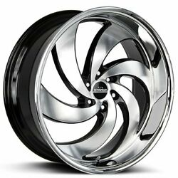 24 Strada Wheels Retro 6 Black With Machined Face And Ss Lip Rims B44