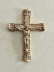 Large, Solid 10k Yellow Gold Jesus Cross Pendant, See Other Gold Jewelry And Coins