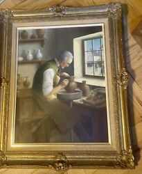 Potter In Studio -fine Framed Oil Painting-r.houy Listed French Artist- 20th C