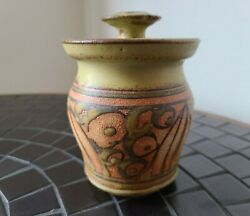 Sweet And Lovely Vintage Mcm Bonnie Staffel Pottery Signed Honeypot With Dipper