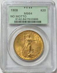 1908 Nm Gold 20 St. Gaudens Double Eagle Green Label Pcgs Ms 64