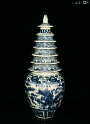 Collection Old China Ming Dynasty Blue And White Dragon Pattern Pagoda Bottle