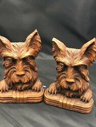 Vintage Ornawood Art Deco Terrior Syroco Scotty Dog Cute Bookends Set