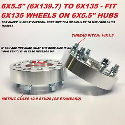 2 Hubcentric Wheel Spacer Adapters 6x5.5 To 6x135 Thick 2 Chevy To F150