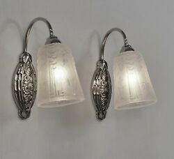 Mouynet And Muller Pair Of 1930 French Art Deco Wall Sconces .. Lamp 1925 France