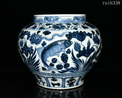 12.8old Collection China Yuan Dynasty Blue And White Fish Grass Pattern Jar