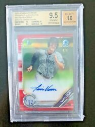 2019 Bowman Chrome Terrin Vavra Red Refractor /5 Bgs 9.5 10 Auto 2 10 Subs