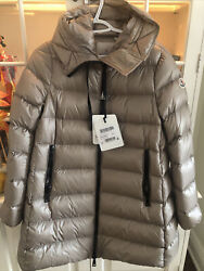 100 Authentic New Moncler Women Suyen Hooded Down Parka Jacket Taupe Sz 2 Tags