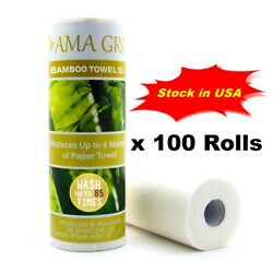 Wholesale 100 Rolls X 20 Sheets Reusable Bamboo Paper Towels Washable Stock Usa