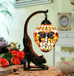 Vintage Style Stained Glass Red Dragonfly Cat Table Lamp Desk Light Gift