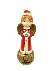 Vintage Paper Mache Christmas Angel In Santa Suit Japan Musical Rotates 10 Tall