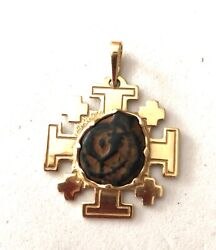 Sale--solid 14k Yellow Gold Unique Widows Mite In Jerusalem Pendant And Chain