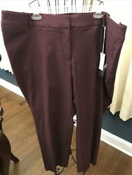 Lane Bryant Size 26 Winetasting Power Pockets Allie Sexy Stretch Ankle Pants Nwt