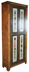 Antique Lew Hudnall Early American Painted Grain Pine Cupboard Farmhouse Cabinet