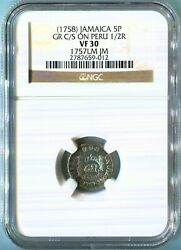 Jamaica - 1758 5 Pence Gr C/m On Peru 1/2r In Ngc Vf 30